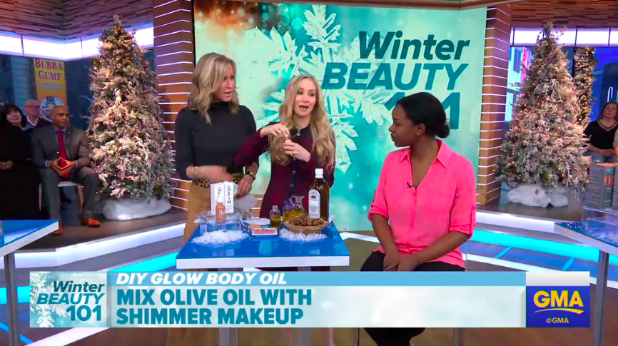 GMA Beauty Tip Mix oo with shimmer makeup