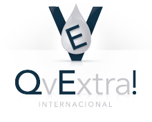 QvExtra! in gray and black with Internacional below in gray and a black V with a gray drop with the letter E on in in front above