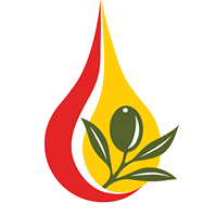 A red and yellow drop with a green olive leaf in front