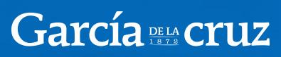 Garcia De La Cruz in white text with a blue background and 1872 written below De La