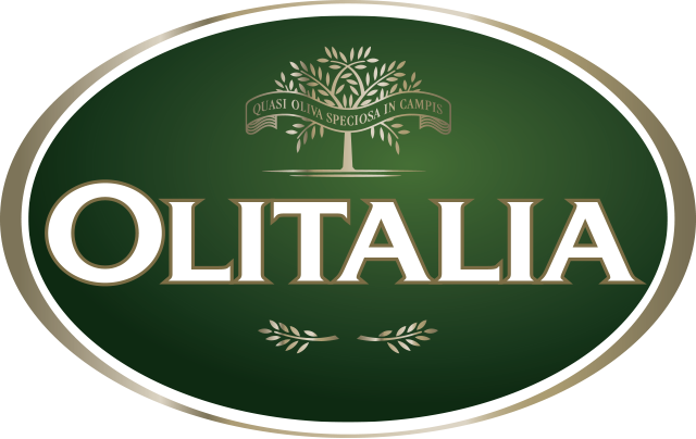 Olitalia written in white on a green banner with an olive tree above