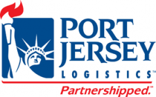 Port Jersey Logistics in blue with a red line and Partnershipped below in red and a blue Statue of Liberty image to the left