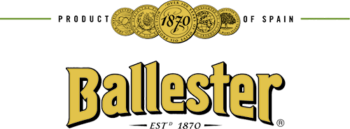 Ballester written in yellow text with Est 1870 written below and Product of Spain written above (both in black text). There are also yellow medals at the top