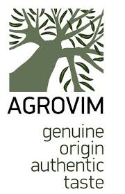 clip art of olive tree with Agrovim in black text and the words genuine origin authentic and taste below it (also in black)