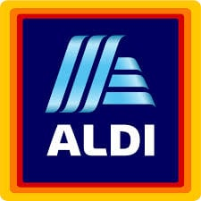Aldi logo with the word ALDI written below in white and a blue, red, orange, and yellow square behind it (in that order)