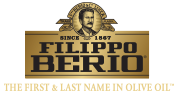 Filippo Berio written in black letters with since 1867 written above (next to a portrait) with The First & Last Name in Olive Oil written below in gold