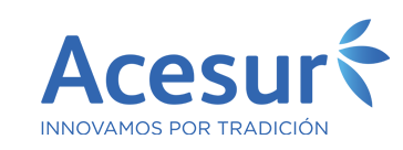 Acesure written in blue with three blue leaves to the right and Innovamos pro tradición below