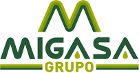 Migasa written in dark green text with a light and dark green m above and Grupo written below in light green with two light and dark green lines on either side