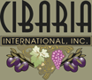 Cibaria written in black text with a brown background, International, Inc. below it in brown text and a black background, and a close up of an olive tree with a brown background