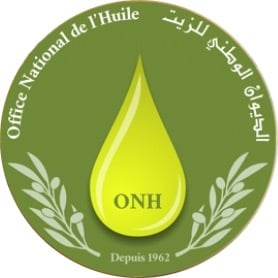 ONH in a yellow drop with l'Office National de l'Huile to the left in a circle and Arabic text to the right