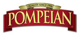 Pompeian written in gold on a red banner with Quality Since 1906 written above in black text on a gold banner