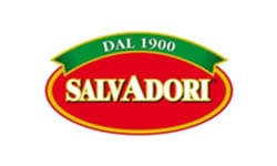 Salvadori in white text with a red banner behind it and Dal 1900 above written in white text on a green banner