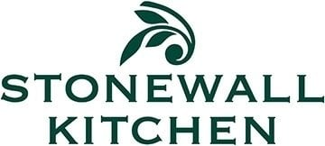 The words Stonewall Kitchen with an olive branch above it, all of which are a dark green color