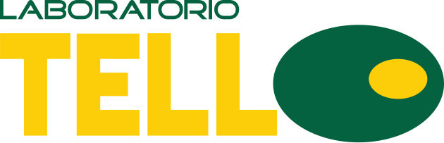 Laboratori Tell in green and yellow with a green and yellow olive to the right (representing the letter o)